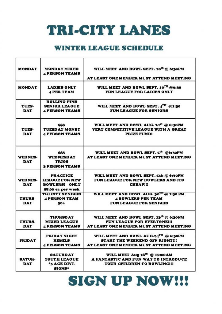2018 Fall League Schedule