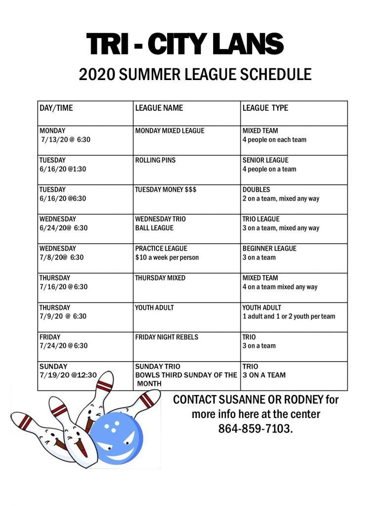 Summer 2020 Leagues